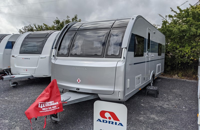 Touring Caravan for Sale: 2021 New Adria Adora 612DL Seine fixed single beds end washroom 4 berth