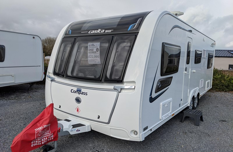 Touring Caravan for Sale: Compass Casita 840 2019 Used 6 berth Fixed double bed side dinette full awning twin axle
